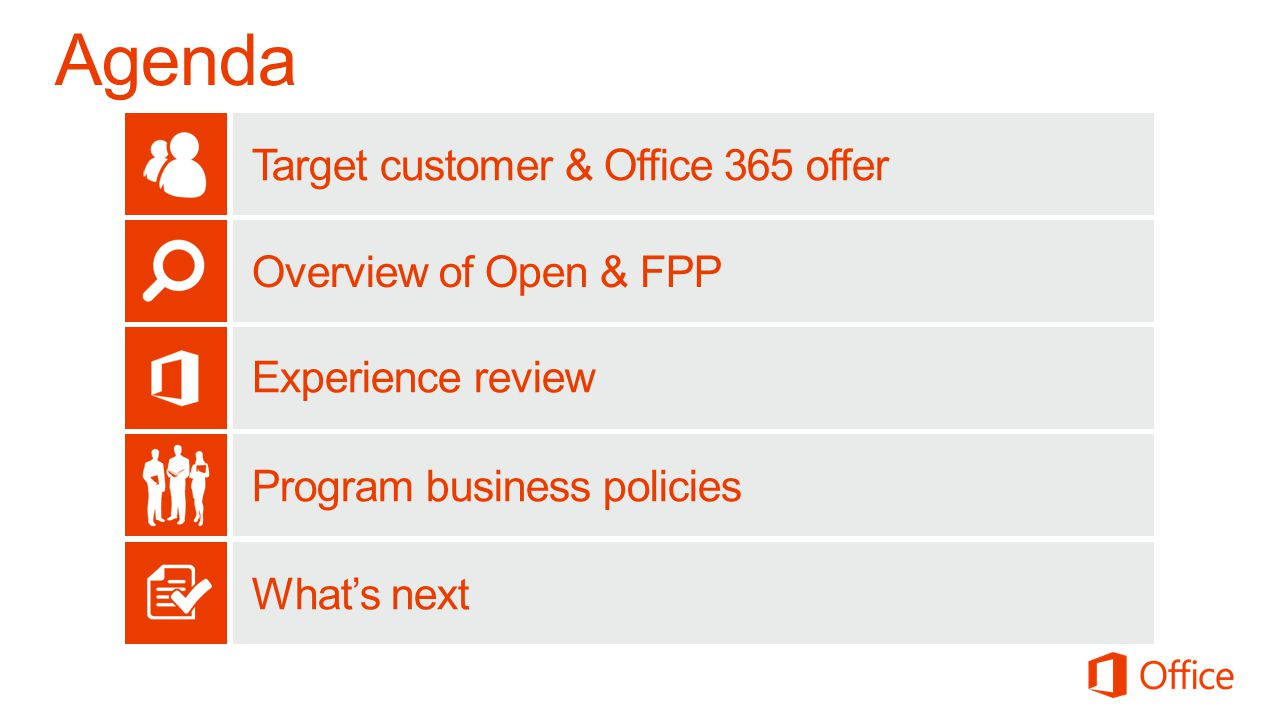 Agenda Target customer & Office 365 offer Overview of Open & FPP