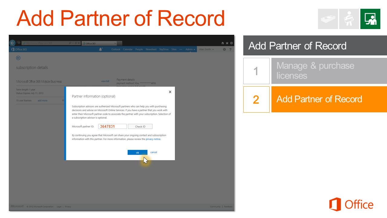 Add Partner of Record 1 2 Add Partner of Record