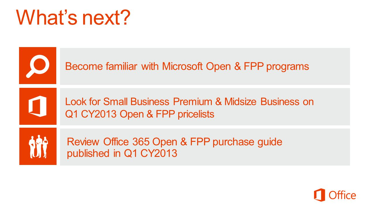 What's next Become familiar with Microsoft Open & FPP programs