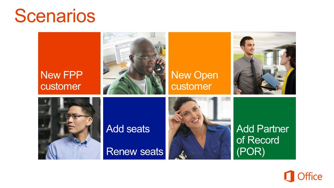 Scenarios New FPP customer New Open customer Add seats Renew seats