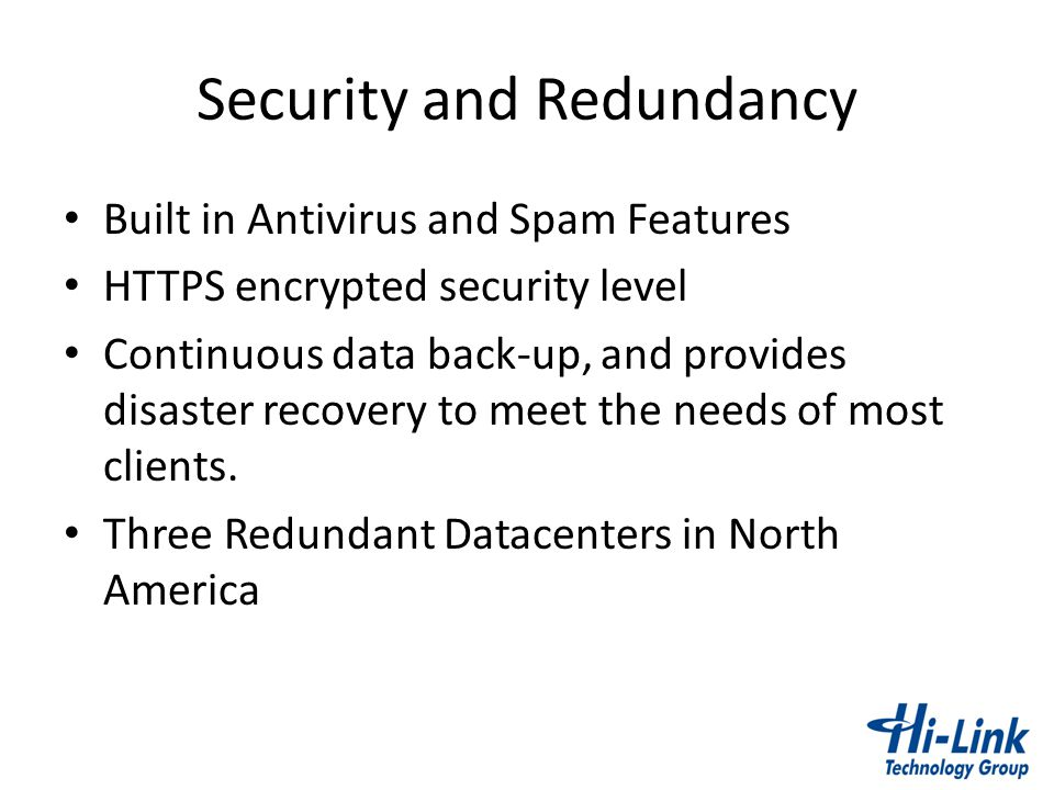 Security and Redundancy
