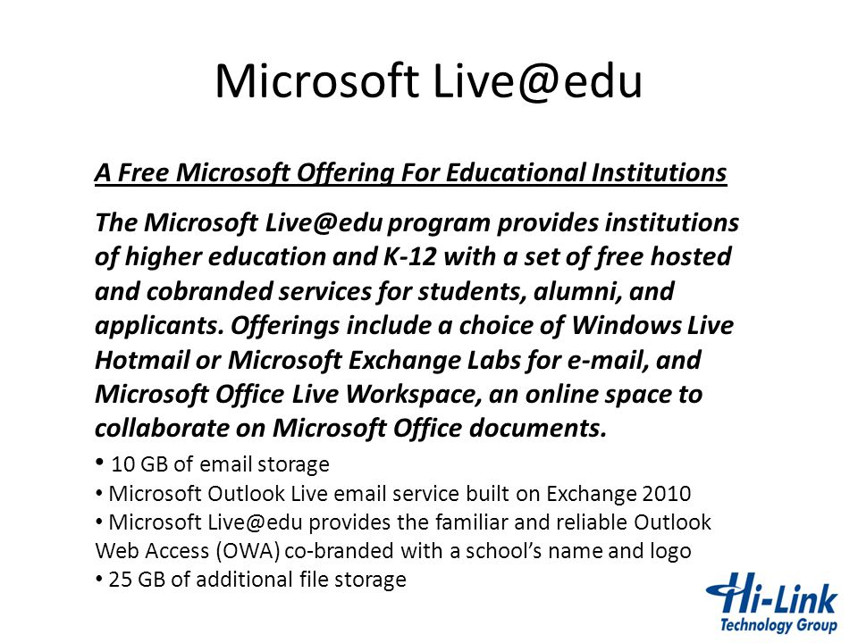 Microsoft Live@edu A Free Microsoft Offering For Educational Institutions.