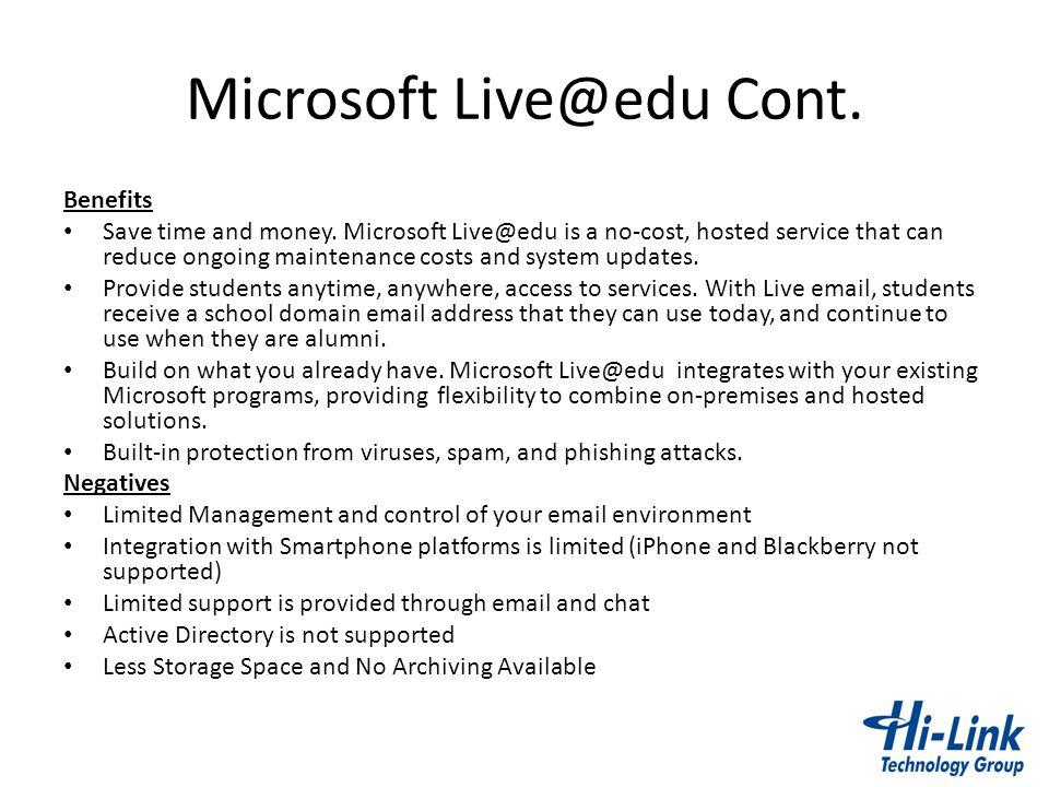 Microsoft Live@edu Cont.