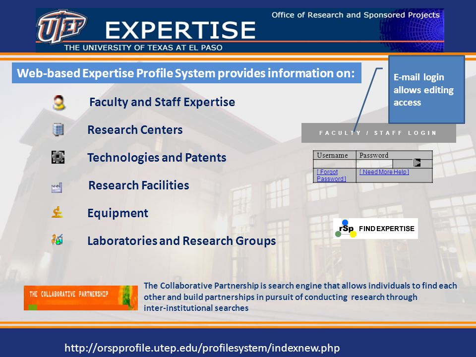 Web-based Expertise Profile System provides information on: