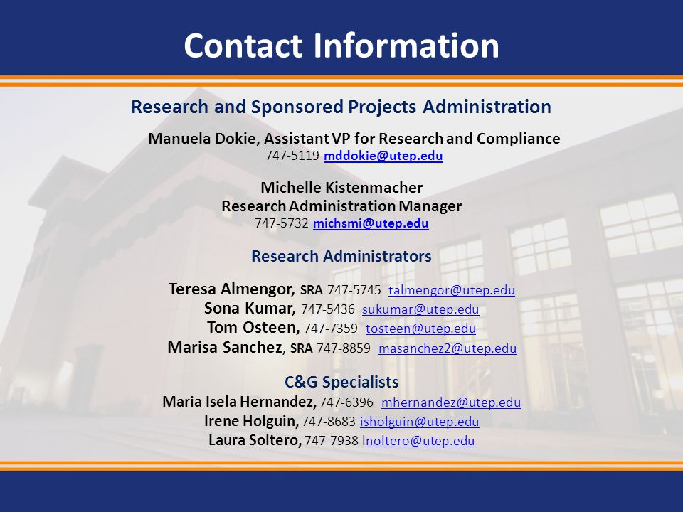 Contact Information Research and Sponsored Projects Administration. Manuela Dokie, Assistant VP for Research and Compliance.