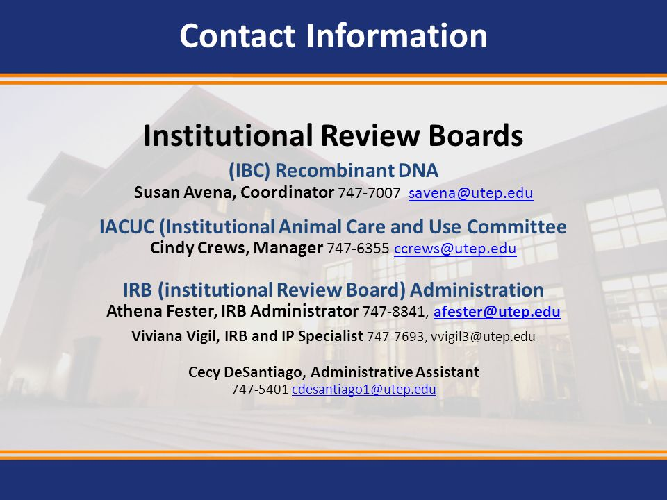Contact Information Institutional Review Boards. (IBC) Recombinant DNA. Susan Avena, Coordinator 747-7007 savena@utep.edu.