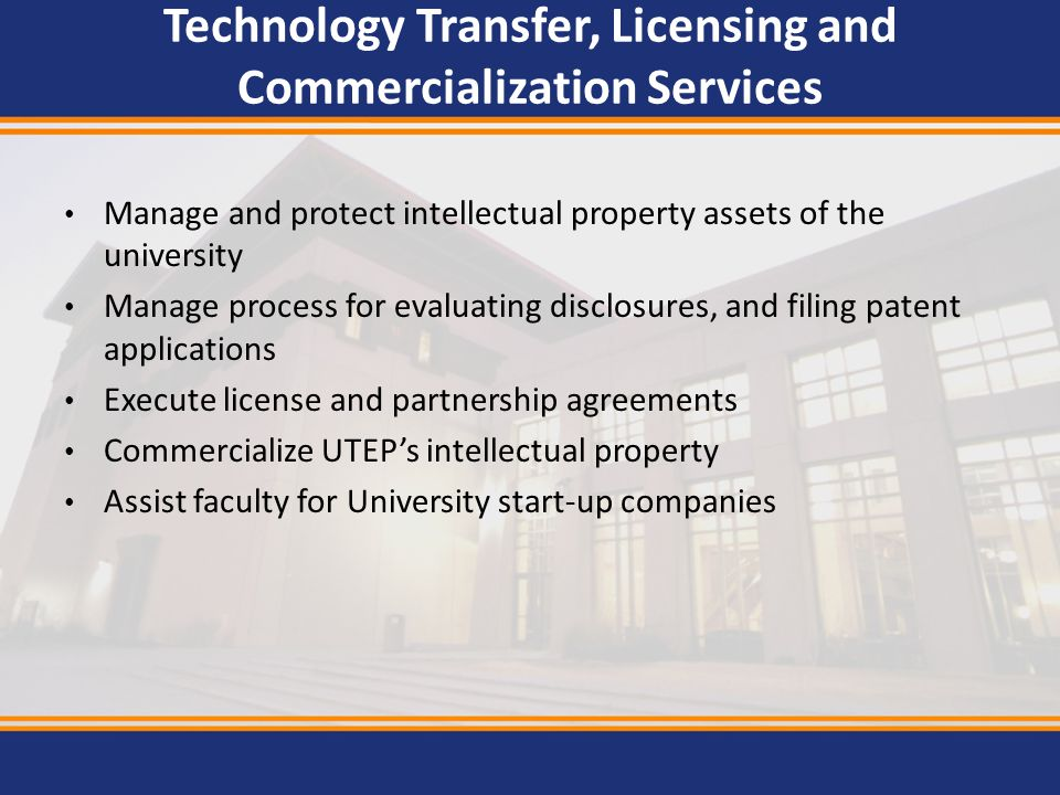 Technology Transfer, Licensing and Commercialization Services