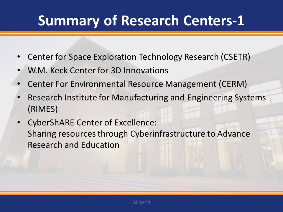 Summary of Research Centers-1
