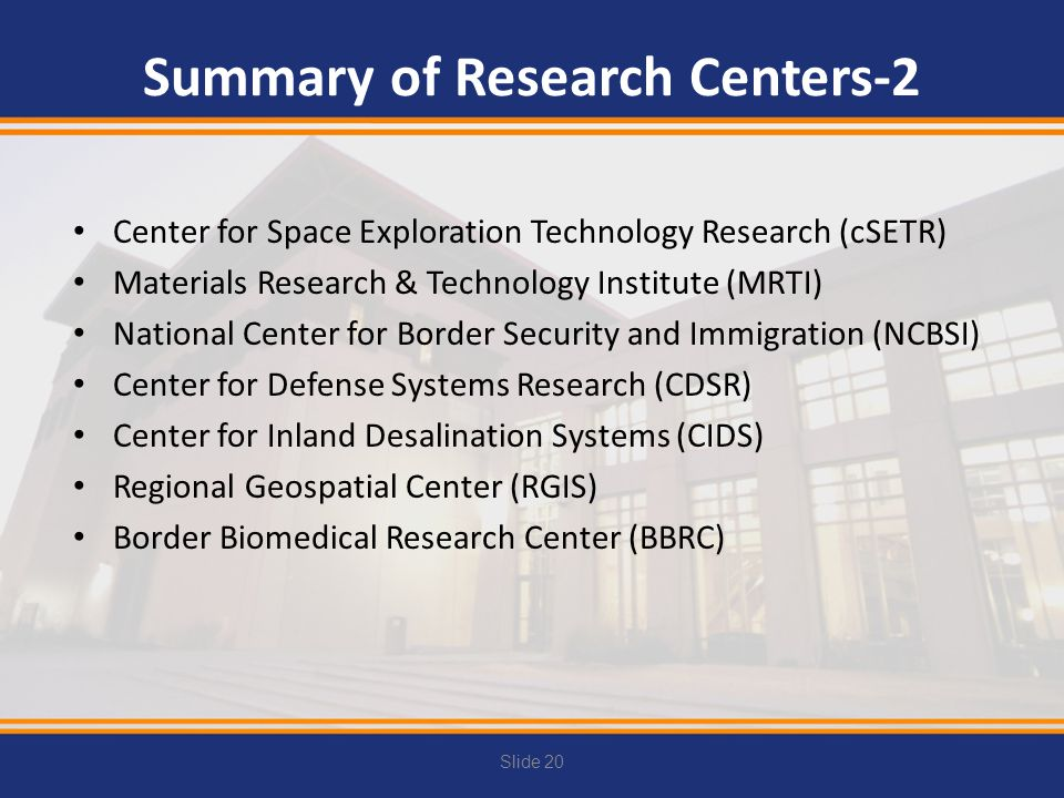 Summary of Research Centers-2