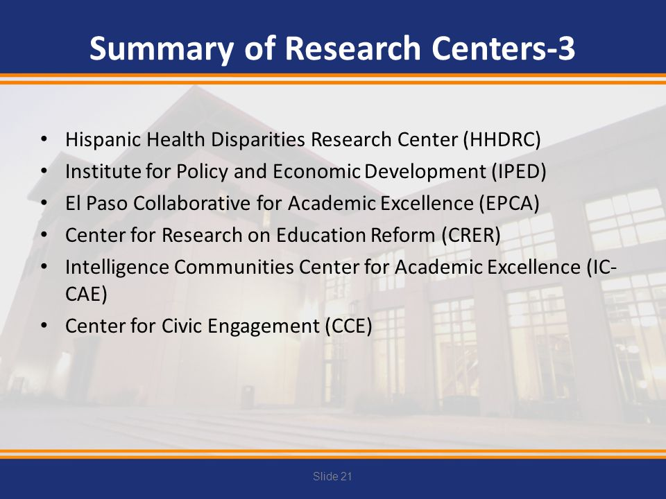 Summary of Research Centers-3