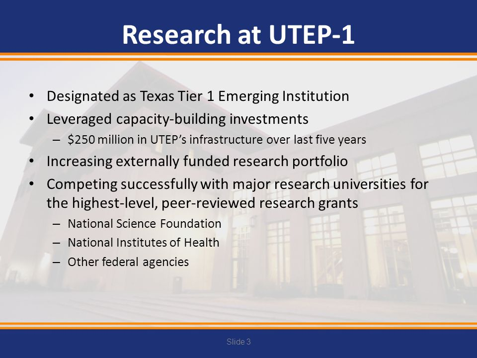 Research at UTEP-1 Designated as Texas Tier 1 Emerging Institution