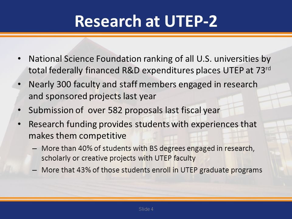 Research at UTEP-2 National Science Foundation ranking of all U.S. universities by total federally financed R&D expenditures places UTEP at 73rd.