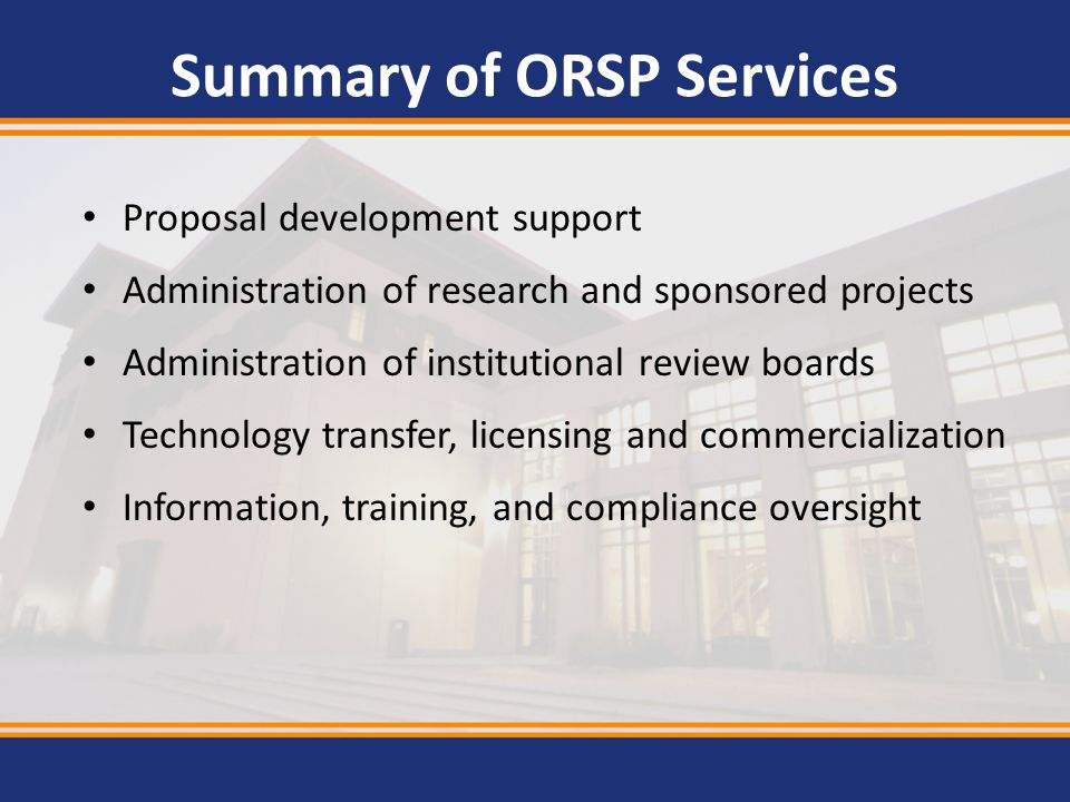 Summary of ORSP Services