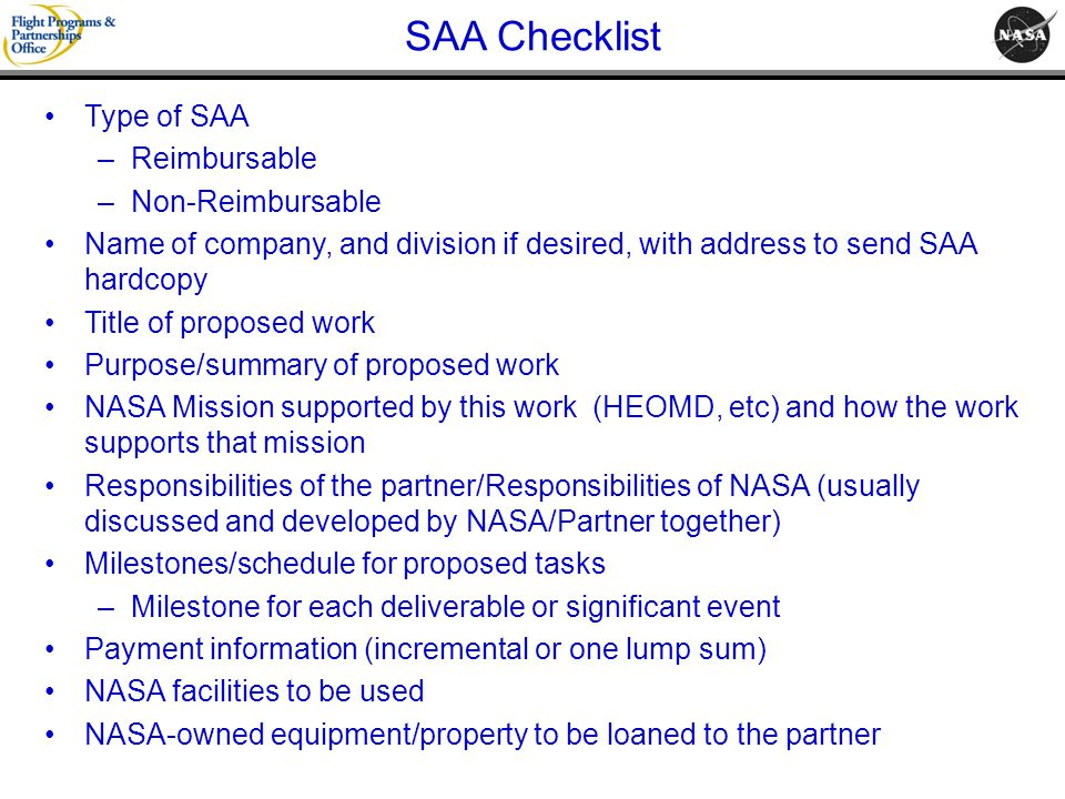 SAA Checklist Type of SAA Reimbursable Non-Reimbursable