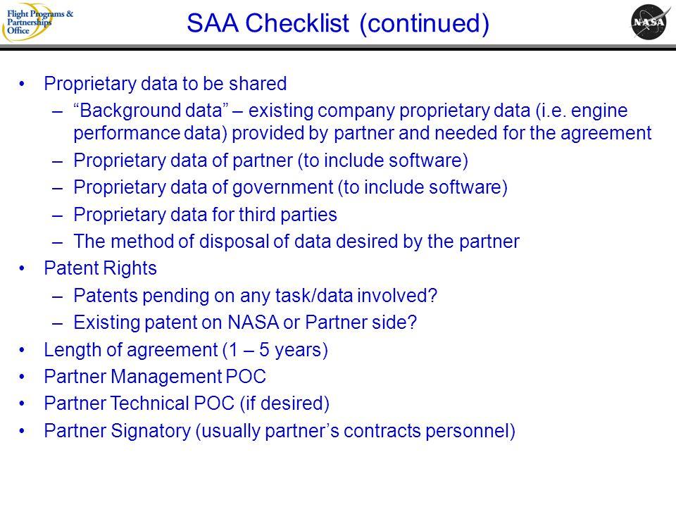 SAA Checklist (continued)