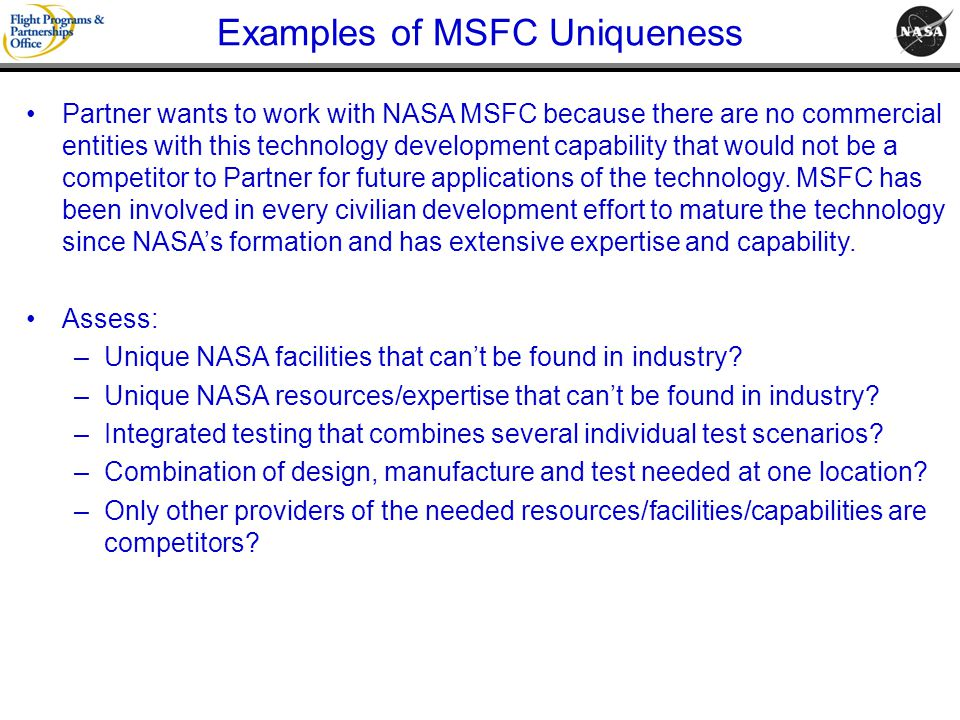 Examples of MSFC Uniqueness