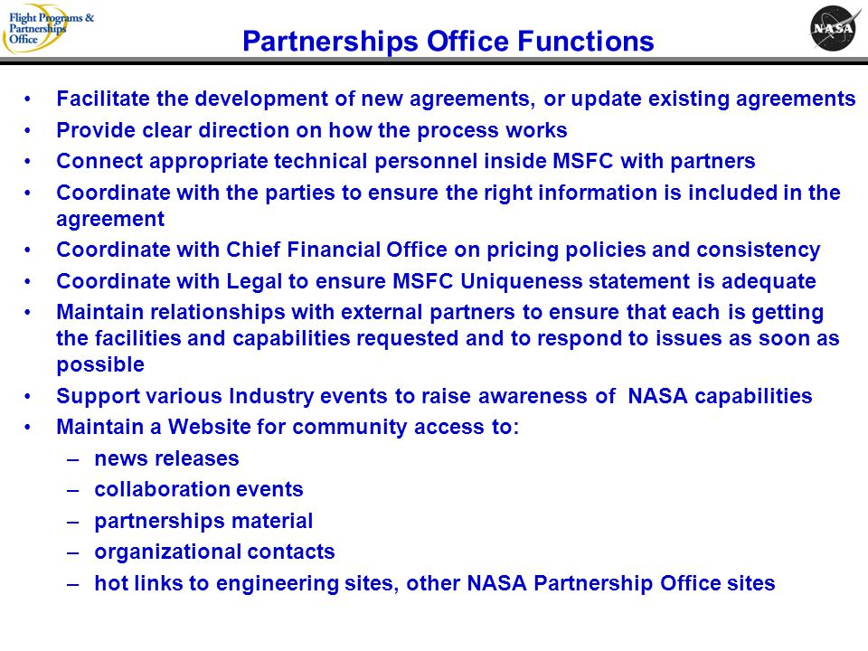 Partnerships Office Functions