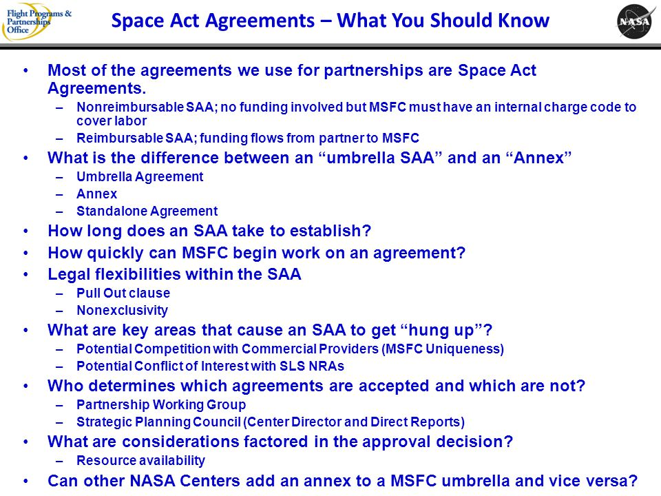 Space Act Agreements – What You Should Know