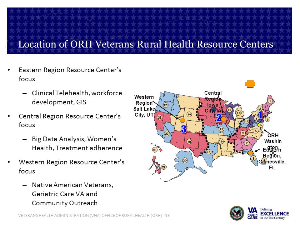 Location of ORH Veterans Rural Health Resource Centers
