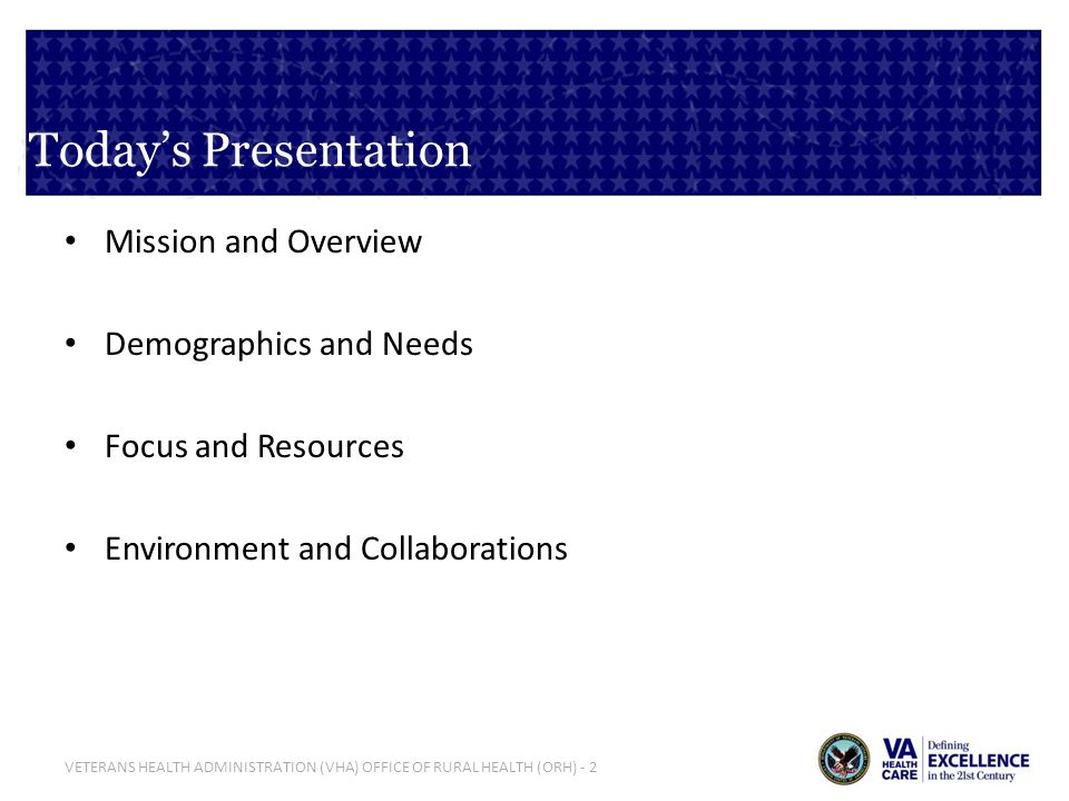 Today's Presentation Mission and Overview Demographics and Needs