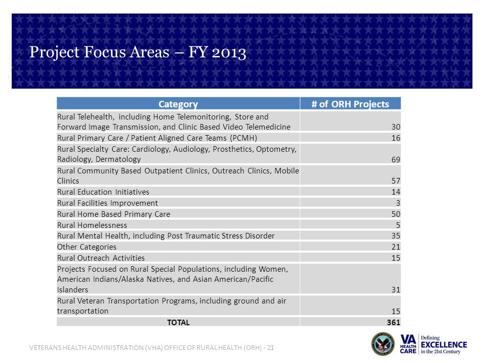 Project Focus Areas – FY 2013