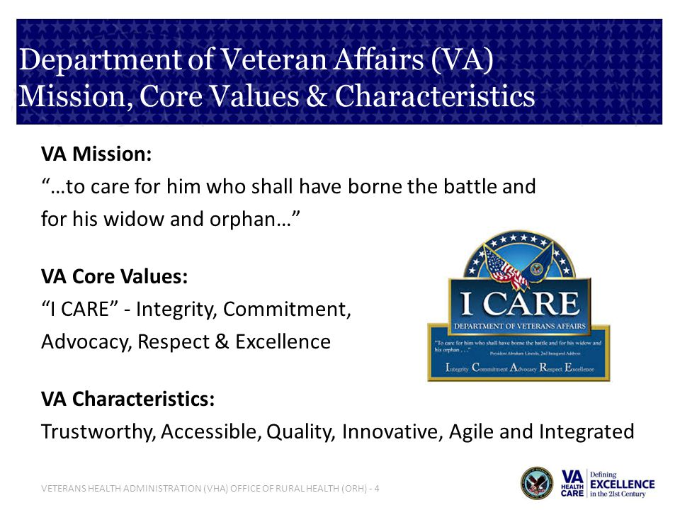 Department of Veteran Affairs (VA) Mission, Core Values & Characteristics