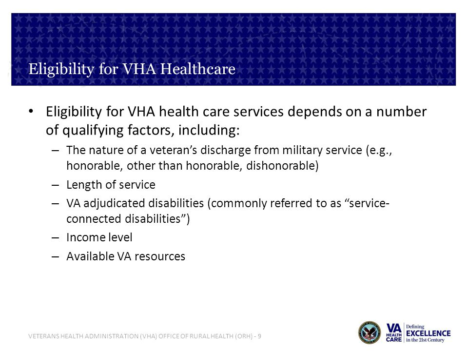 Eligibility for VHA Healthcare