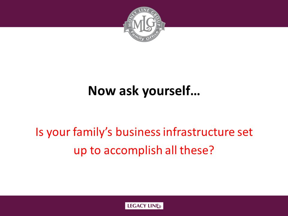 Now ask yourself… Is your family's business infrastructure set