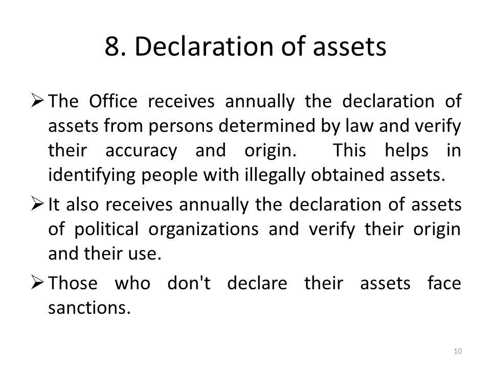 8. Declaration of assets