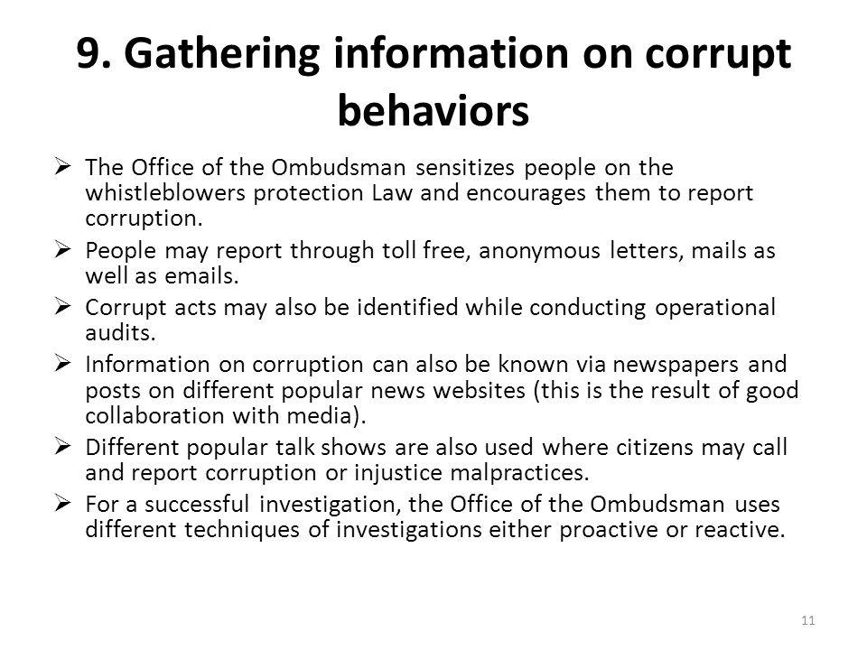 9. Gathering information on corrupt behaviors
