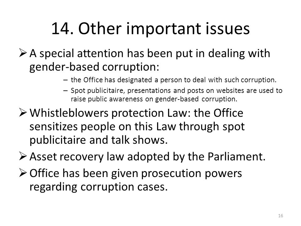 14. Other important issues