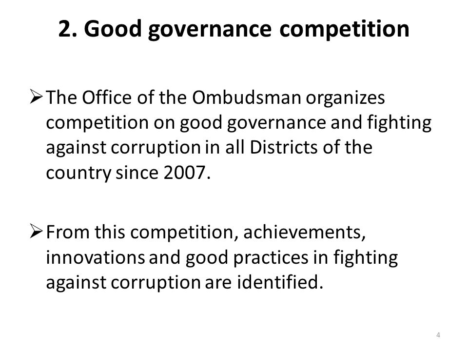 2. Good governance competition