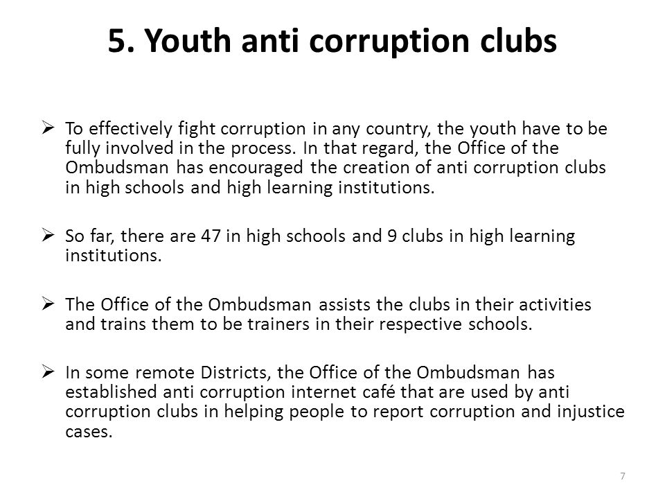 5. Youth anti corruption clubs