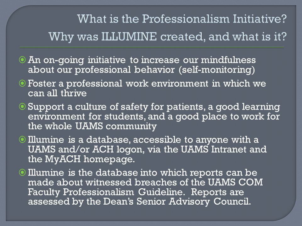 What is the Professionalism Initiative