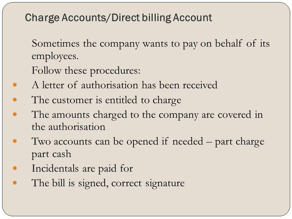 Charge Accounts/Direct billing Account