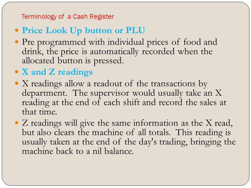Terminology of a Cash Register