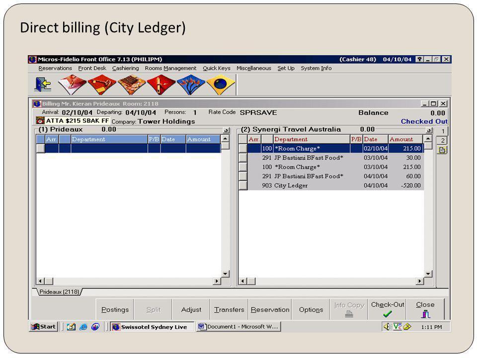 Direct billing (City Ledger)