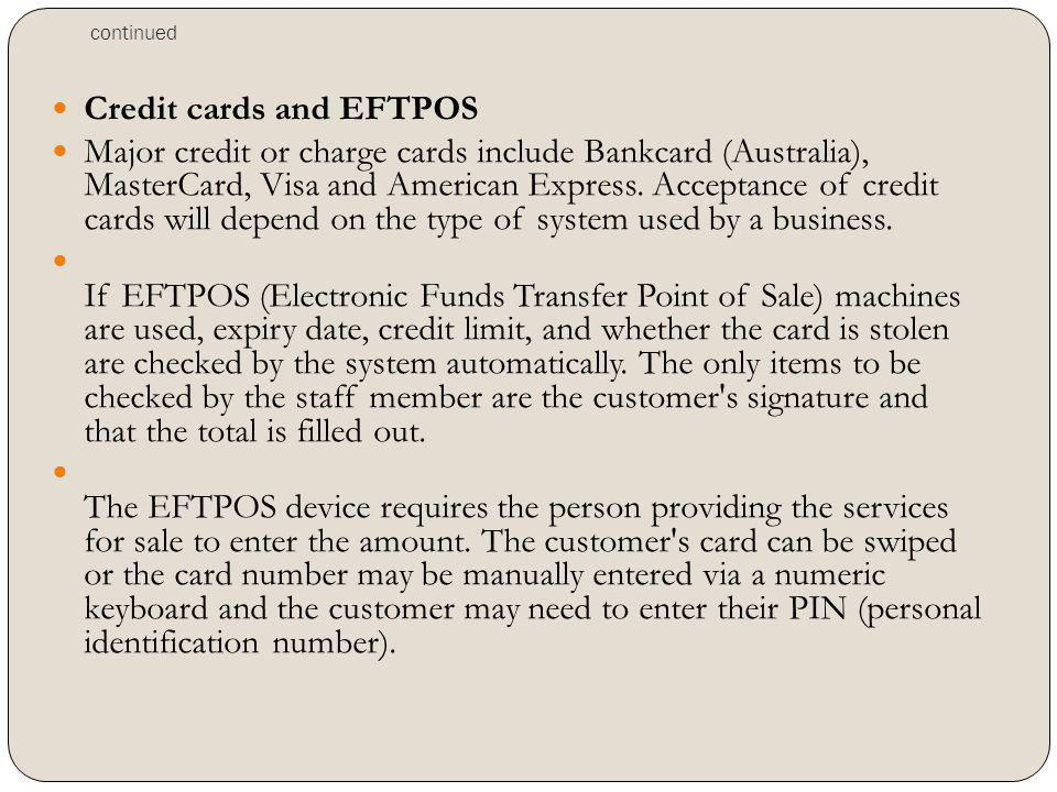 Credit cards and EFTPOS