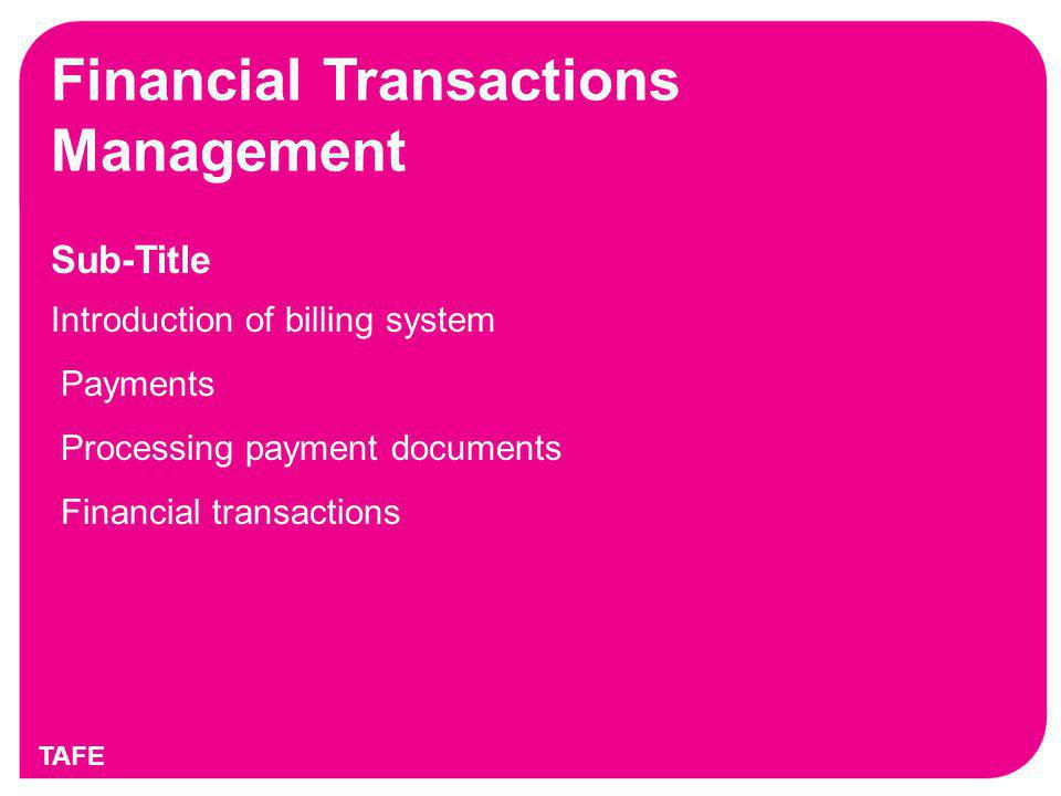 Financial Transactions Management