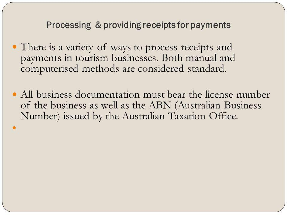 Processing & providing receipts for payments