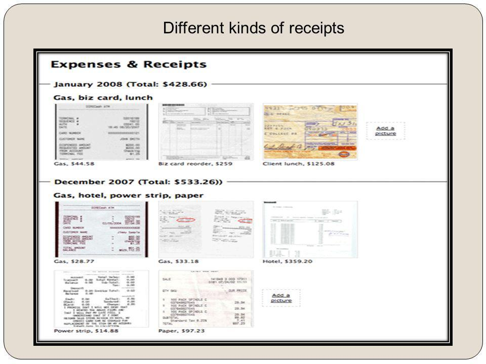 Different kinds of receipts