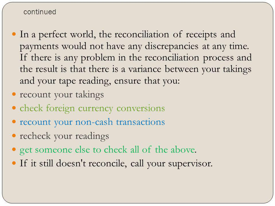 check foreign currency conversions recount your non-cash transactions