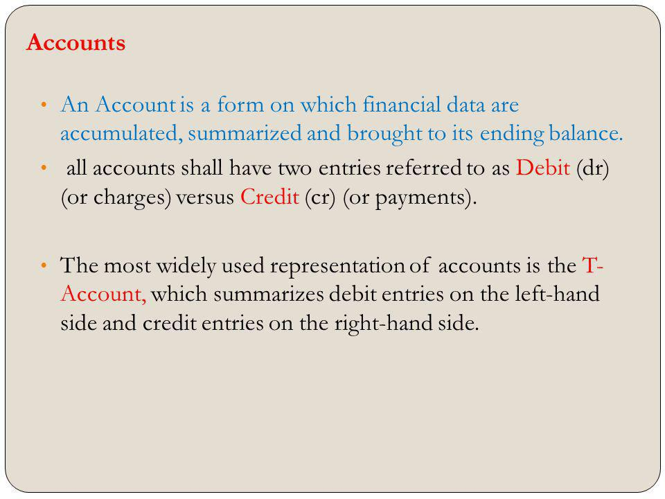Accounts An Account is a form on which financial data are accumulated, summarized and brought to its ending balance.