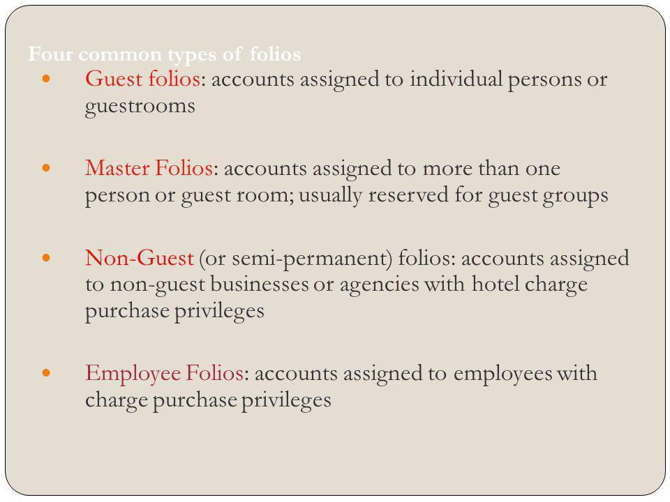 Four common types of folios