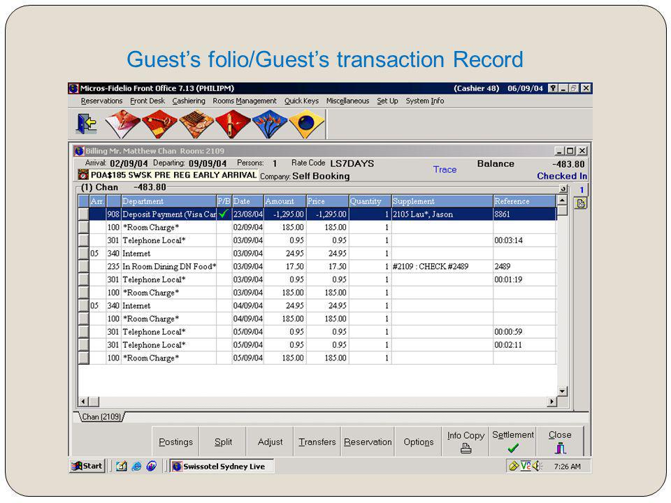 Guest's folio/Guest's transaction Record
