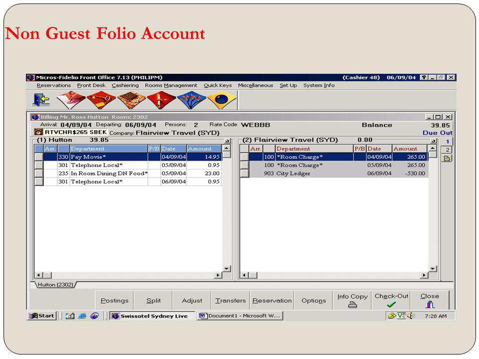 Non Guest Folio Account