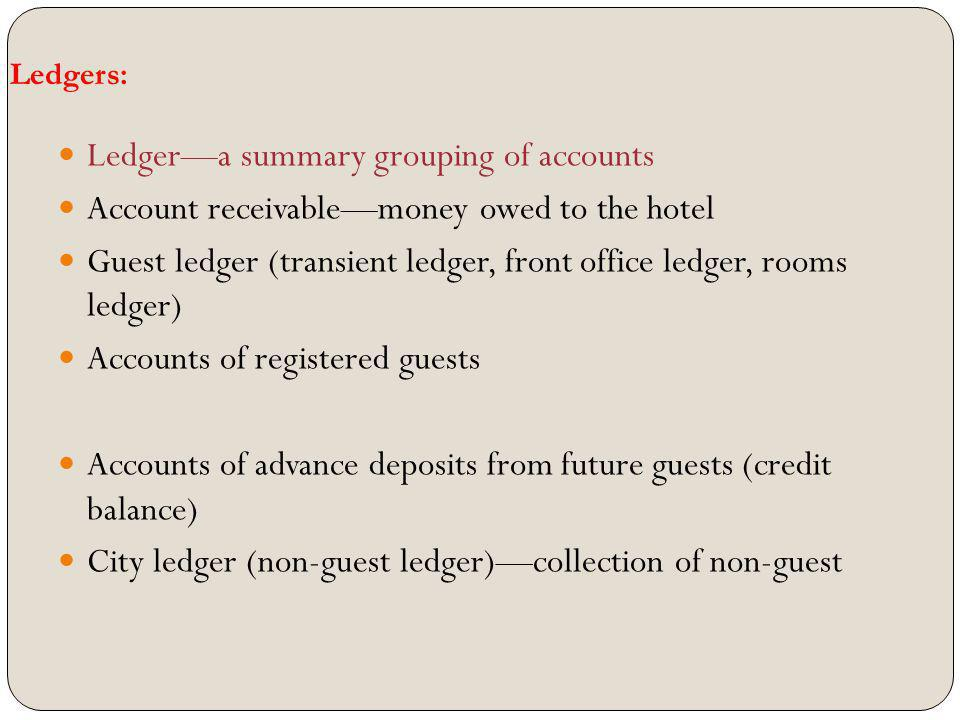 Ledger—a summary grouping of accounts