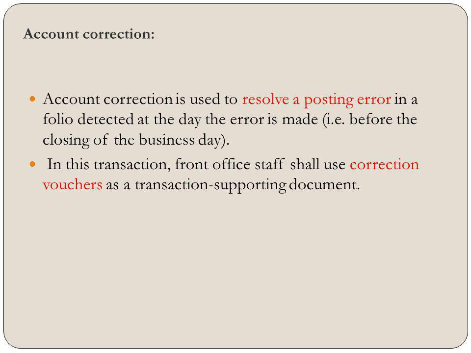 Account correction: