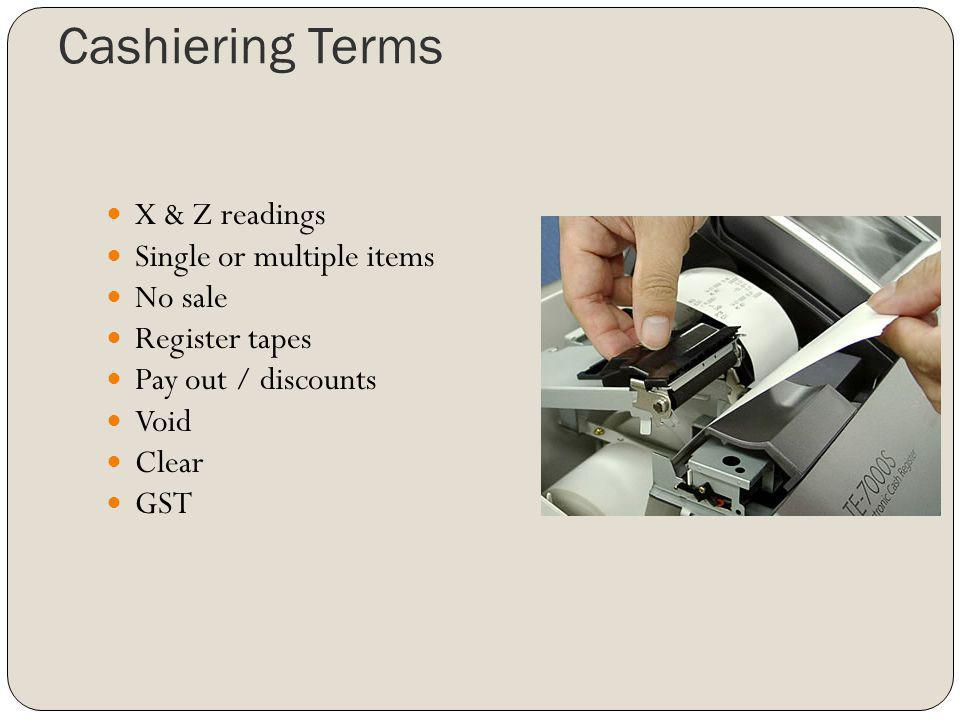 Cashiering Terms X & Z readings Single or multiple items No sale