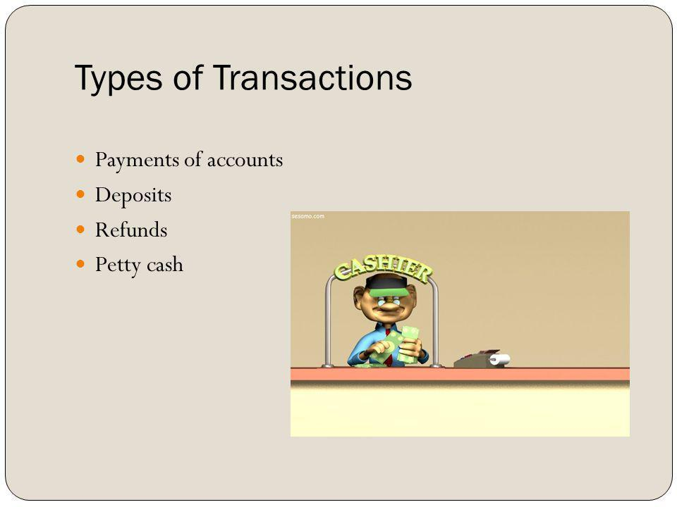 Types of Transactions Payments of accounts Deposits Refunds Petty cash